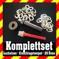 Locheisen+Einschlagstempel+20 oval Ösen vernickelt Planen Ösen Neu 22,5 x 13,5mm